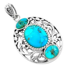 7.63cts natural blue kingman turquoise 925 sterling silver pendant jewelry c1755