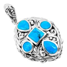 4.38cts natural blue kingman turquoise 925 sterling silver pendant jewelry c1756