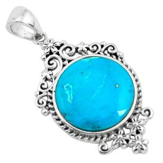 8.80cts natural blue kingman turquoise 925 sterling silver pendant jewelry c1759