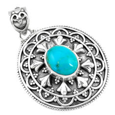 4.55cts natural blue kingman turquoise 925 sterling silver pendant p59069