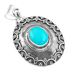 4.38cts natural blue kingman turquoise 925 sterling silver pendant p59070