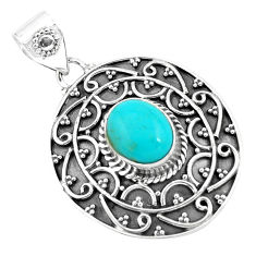 4.20cts natural blue kingman turquoise 925 sterling silver pendant p59072