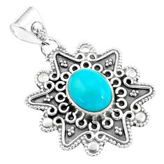 4.52cts natural blue kingman turquoise 925 sterling silver pendant p59078