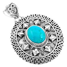 4.05cts natural blue kingman turquoise 925 sterling silver pendant p59079