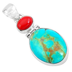 11.20cts natural blue kingman turquoise coral 925 sterling silver pendant p65288