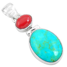 9.72cts natural blue kingman turquoise coral 925 sterling silver pendant p65290