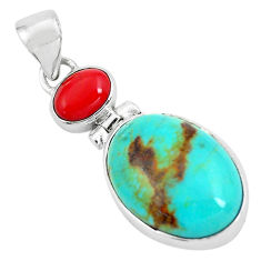 12.22cts natural blue kingman turquoise coral 925 sterling silver pendant p65296