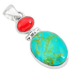 12.22cts natural blue kingman turquoise coral 925 sterling silver pendant p65306