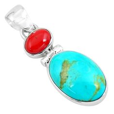 10.62cts natural blue kingman turquoise coral 925 sterling silver pendant p65307