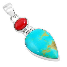 11.20cts natural blue kingman turquoise coral 925 sterling silver pendant p65313