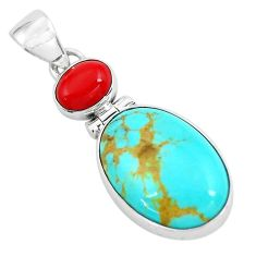 10.05cts natural blue kingman turquoise coral 925 sterling silver pendant p65315