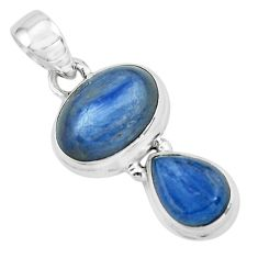 8.22cts natural blue kyanite 925 sterling silver 18' chain pendant p67359