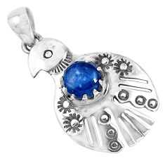 3.36cts natural blue kyanite 925 sterling silver bird charm pendant p41946