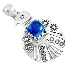 3.52cts natural blue kyanite 925 sterling silver bird charm pendant p41948