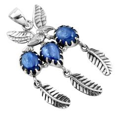 10.74cts natural blue kyanite 925 sterling silver dreamcatcher pendant p42001