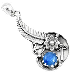 2.76cts natural blue kyanite 925 sterling silver flower pendant jewelry p41849