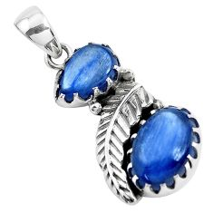 8.42cts natural blue kyanite 925 sterling silver leaf charm pendant p42012