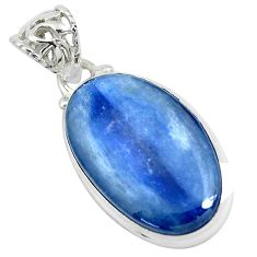 19.72cts natural blue kyanite 925 sterling silver pendant jewelry p47279