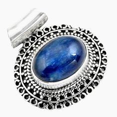 10.48cts natural blue kyanite 925 sterling silver pendant jewelry p86702