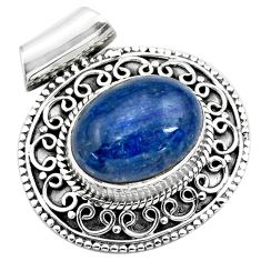 10.26cts natural blue kyanite 925 sterling silver pendant jewelry p86708