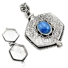 4.09cts natural blue kyanite 925 sterling silver poison box pendant p79936