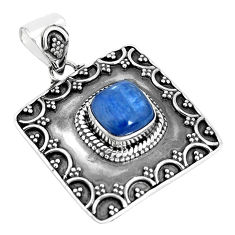 3.41cts natural blue kyanite cushion 925 sterling silver pendant jewelry p33504