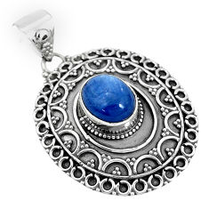 4.48cts natural blue kyanite oval 925 sterling silver pendant jewelry p33518