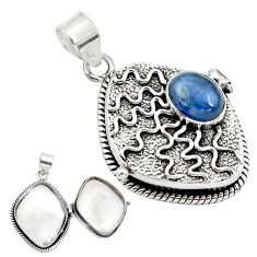 4.28cts natural blue kyanite oval 925 sterling silver poison box pendant p79842