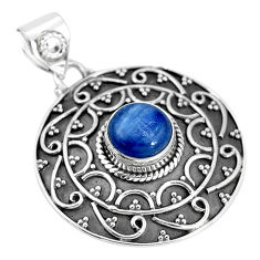 3.16cts natural blue kyanite round 925 sterling silver pendant jewelry p33513