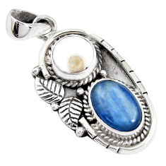 7.23cts natural blue kyanite shiva eye 925 sterling silver pendant p41993
