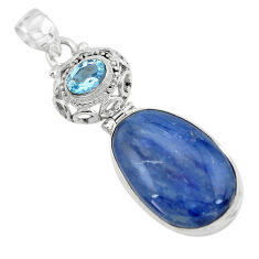 19.72cts natural blue kyanite topaz 925 sterling silver pendant jewelry p59369