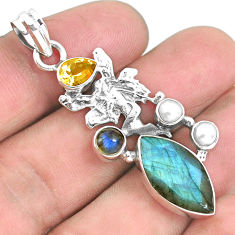 14.26cts natural blue labradorite 925 silver angel wings fairy pendant p38951
