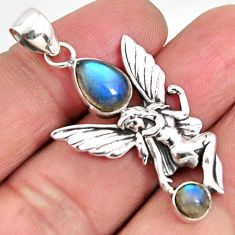 3.33cts natural blue labradorite 925 silver angel wings fairy pendant p90217