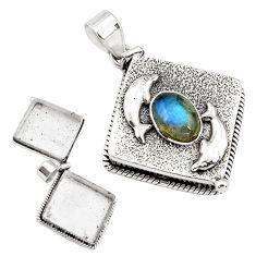 5.30cts natural blue labradorite 925 silver poison box dolphin pendant p79942