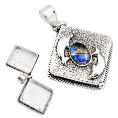 4.56cts natural blue labradorite 925 silver poison box dolphin pendant p79948