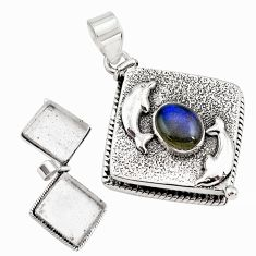 4.64cts natural blue labradorite 925 silver poison box dolphin pendant p79956