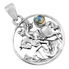 0.92cts natural blue labradorite 925 sterling silver horse charm pendant d32580