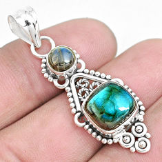 6.10cts natural blue labradorite 925 sterling silver pendant jewelry p39352