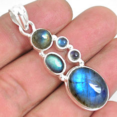 14.68cts natural blue labradorite 925 sterling silver pendant jewelry p39810