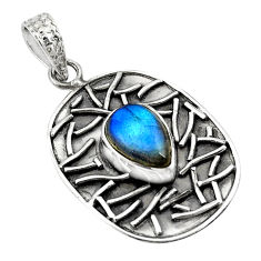 4.71cts natural blue labradorite 925 sterling silver pendant jewelry p78480