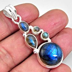 18.15cts natural blue labradorite 925 sterling silver pendant jewelry p89200