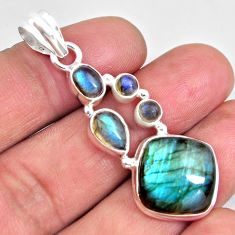 16.46cts natural blue labradorite 925 sterling silver pendant jewelry p90375