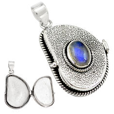 4.44cts natural blue labradorite 925 sterling silver poison box pendant p79826
