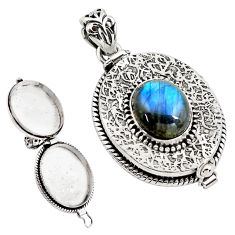 5.34cts natural blue labradorite 925 sterling silver poison box pendant p79866