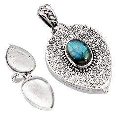 3.96cts natural blue labradorite 925 sterling silver poison box pendant p92873