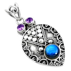5.30cts natural blue labradorite amethyst 925 sterling silver pendant d31200
