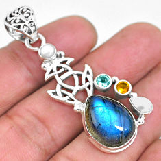 13.63cts natural blue labradorite pearl 925 sterling silver pendant p54601