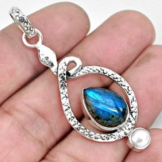 7.66cts natural blue labradorite pearl 925 sterling silver snake pendant p49196
