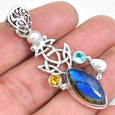 12.97cts natural blue labradorite pearl topaz 925 sterling silver pendant p54616