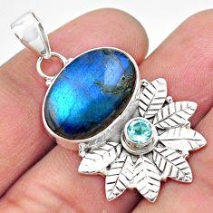 13.71cts natural blue labradorite topaz 925 silver deltoid leaf pendant p84679